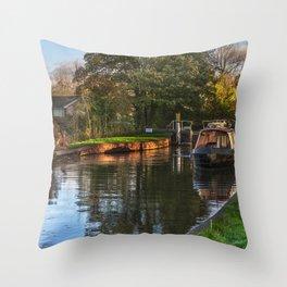 Passing Through Woolhampton Lock Throw Pillow