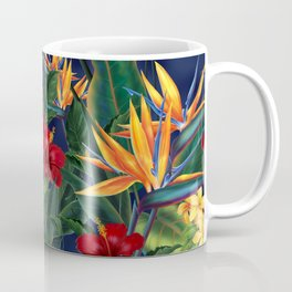 Tropical Paradise Hawaiian Floral Illustration Coffee Mug