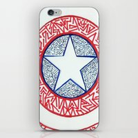 superheros iPhone & iPod Skins featuring The Shield by Katie Kephart