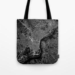 Philadelphia Black Map Tote Bag