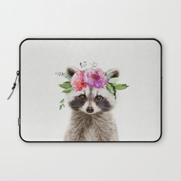 Baby Raccoon with Flower Crown Laptop Sleeve