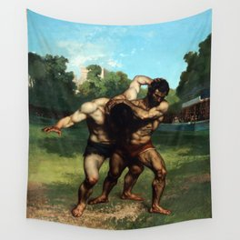 The Wrestlers by Gustave Courbet (1853) Wall Tapestry