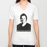 sam winchester V-neck T-shirts featuring Sam Winchester by TeganFanella