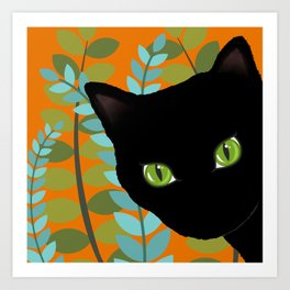 Black Kitty Cat In The Garden Art Print