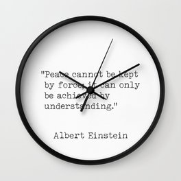 Albert Einstein typed quote Wall Clock