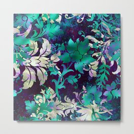 Elegant Jungle Floral Design on Midnight Purple Background Metal Print