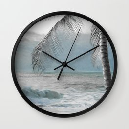White Coconut Palm Tree Wall Clock