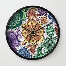 Rainbow Mandala Wall Clock