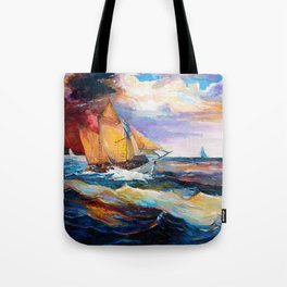 Fishing boats in the sea at sunset Tote Bag
