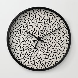 Mudcloth Black Lines in Ivory Linen Wall Clock