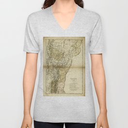 Map of Vermont by Carl Ernst Bohn (1796) Unisex V-Neck