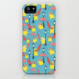 Dogs in Raincoats Singin' in the Rain iPhone Case