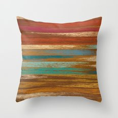 wood panel multicolor Throw Pillow