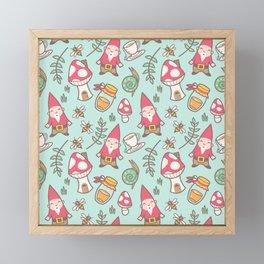 Garden Gnome Cottage Pattern Framed Mini Art Print