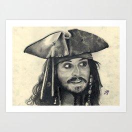 Captain Jack Sparrow ~ Johnny Depp Traditional Portrait Print Art Print
