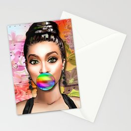 Retro Pinup Girl Colorful Music Sheet & Flowers Stationery Cards