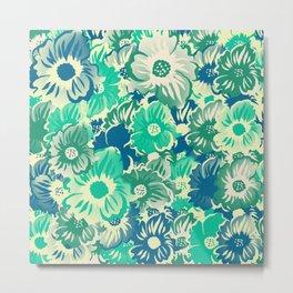 Flowers - Acapulco (Green), Medium Aquamarine, Surf Crest, Summer Green Metal Print