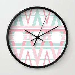 Pastel Diamond Aztec Design Wall Clock