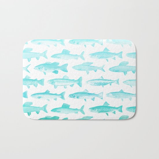 Fishes- pattern in aqua on clear white Bath Mat