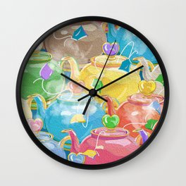 Tea Love Teapots Wall Clock
