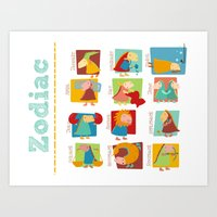 zodiac Art Prints featuring Zodiac by Loezelot
