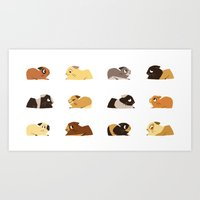 pigs Art Prints featuring Guinea pigs by stephasocks