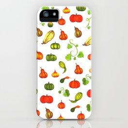 Autumn Pumpkin and Gourd Pattern iPhone Case