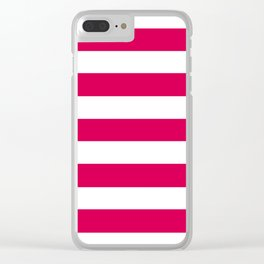 UA red - solid color - white stripes pattern Clear iPhone Case