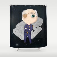 battlestar Shower Curtains featuring Colonel Tigh 2 | Battlestar Galactica by The Minecrafteers
