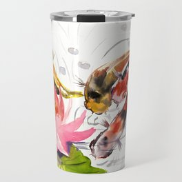 Koi Pond, feng shui koi fish art, design Travel Mug
