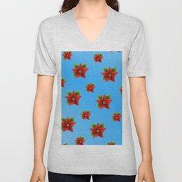 Red Flowers Pattern 2 Unisex V-Neck