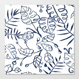 Tropical Plant Boho Chinoiserie Blue and White Canvas Print