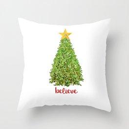 Believe Christmas Tree Throw Pillow