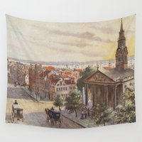 broadway Wall Tapestries featuring Vintage Broadway NYC Artwork (1840) by BravuraMedia