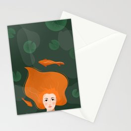 Red head girl in water koi fish Stationery Cards