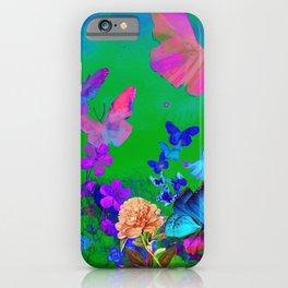 Green Butterflies & Flowers iPhone Case