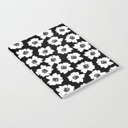Linocut botanical nature floral flower art nursery black and white decor newborn Notebook