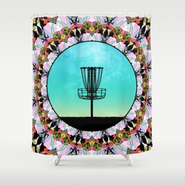 Disc Golf Abstract Basket 4 Shower Curtain