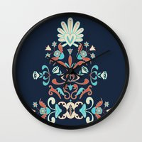 folk Wall Clocks featuring Folk by Carolina Abarca