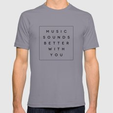 Music Sounds Better With You Slate Mens Fitted Tee LARGE