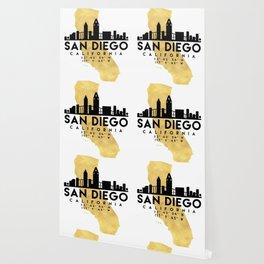 SAN DIEGO CALIFORNIA SILHOUETTE SKYLINE MAP ART Wallpaper