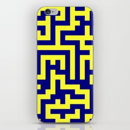 Electric Yellow and Navy Blue Labyrinth iPhone Skin