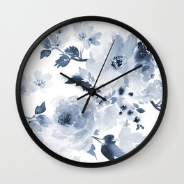 Floral Kingdom Watercolor Navy Blue Painting Of Flowers Peony Wall Clock