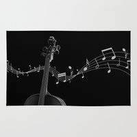 cello Area & Throw Rugs featuring My Cello by society6-BIG