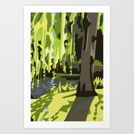 Weeping Willow in Giverny Gardens Art Print