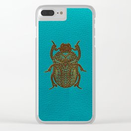 Egyptian Scarab Beetle - Leather & Gold on teal Clear iPhone Case