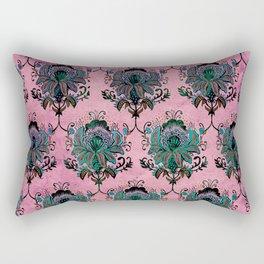 Pink Lotus Damask Rectangular Pillow