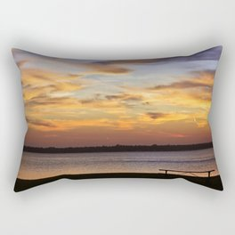Sitting on the Bench by the Lake Rectangular Pillow