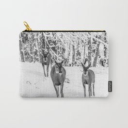 Winter Wildlife - Deer Fawn Forest Adventure Nature Photography Carry-All Pouch