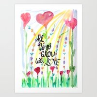 love quotes Art Prints featuring Love Quotes by Just Creative Julia